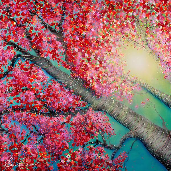 cheery-tree, cherry-blossom, pointillism, pink, teal, tree, tree-art, sunshine