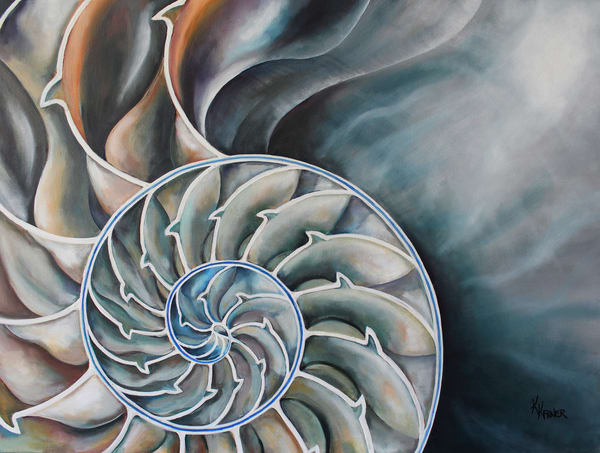 Nautilus Shell Interior Original Oil Painting by Coastal Artist Kristine Kainer