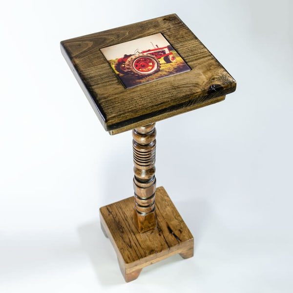 Dark Wood 28-inch Cocktail Table  with Removable Tile Inlay