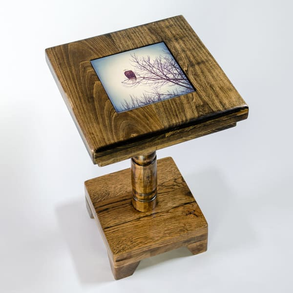 Dark Wood 19-inch Cocktail Table with Removable Tile Inlay