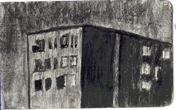 Dark Building On A Dark Night Art   Howard Lawrence Fine Art