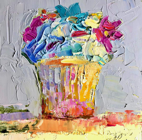 "Still life floral ""Joycake""  by Monique Sarkessian still Llife with pink heart cupcake oil painting."