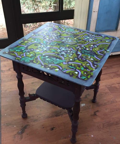 Zig Zag Garden Path Blue Hydrangea Table | Dorothy Fagan Joy's Garden