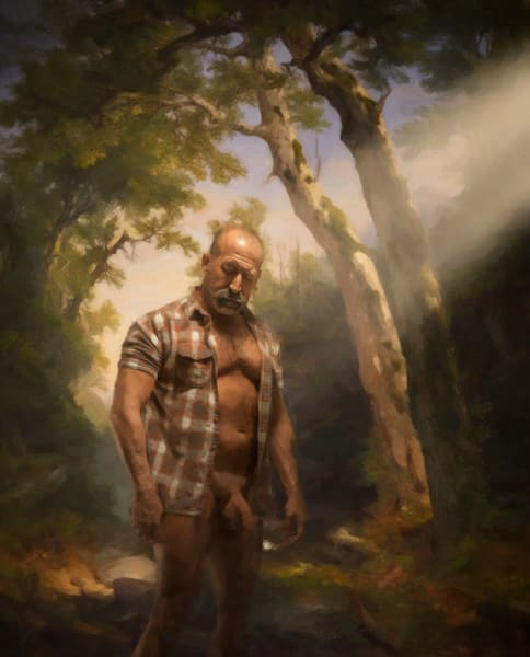 """Nude In The Woods"" Encaustic Painting"