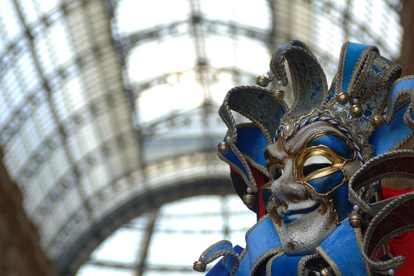 Mask in Milan Photograph – The Galleria Mall Italy Art Photography - Fine Art Prints on Canvas, Paper, Metal & More