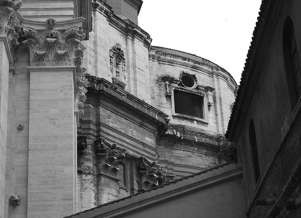 Old Building in Rome Photograph – Italy B&W Art Photography - Fine Art Prints on Canvas, Paper, Metal & More