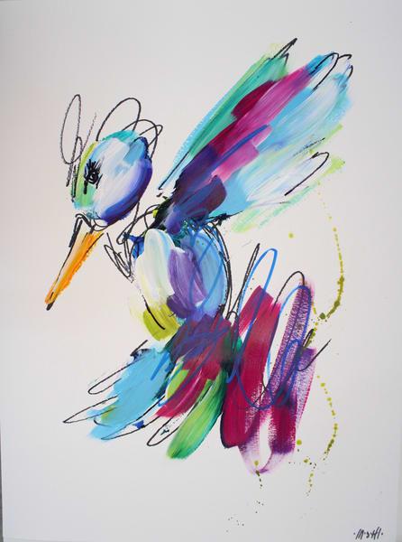 Purple Hummingbird  Art | ashalmonte