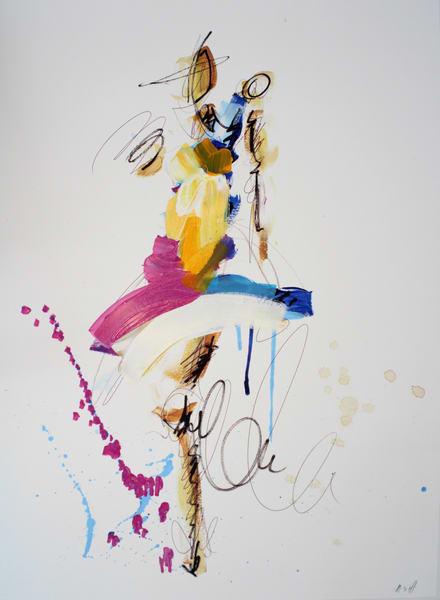 Blue , Magenta, & Orange Figure  Art | ashalmonte