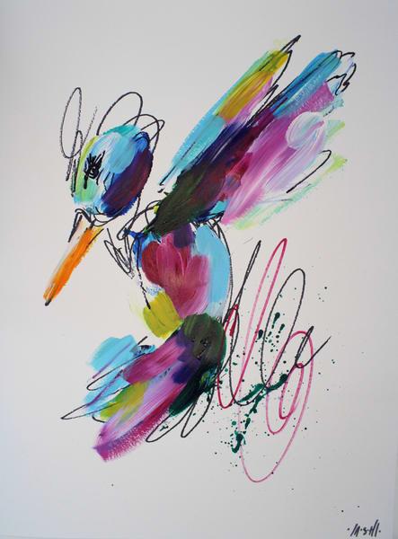Emerald Green Hummingbird  Art | ashalmonte