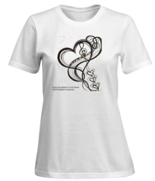 Women's From The Bottom Of His Heart Black On White  | Heartworks Studio Inc