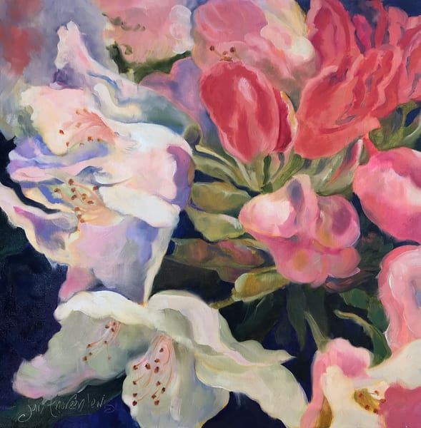 Ladies In Pink & White Art | Jan Thoreen Lewis Fine Art