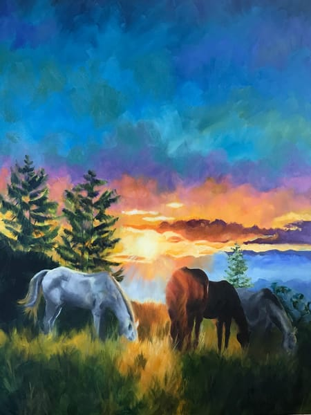 Sunset Horses 1 Art | Jan Thoreen Lewis Fine Art