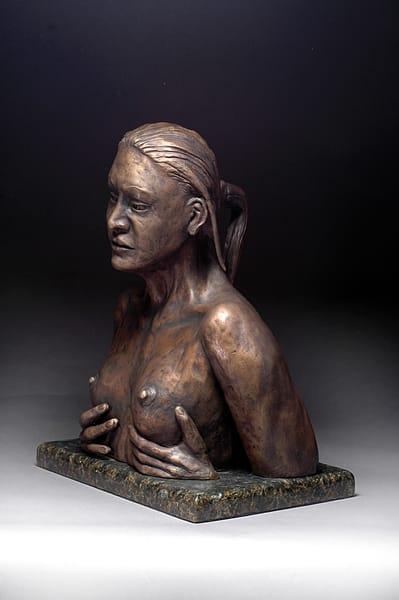 Reflection - Cast Bronze Sculpture of a Woman Looking at her Reflection