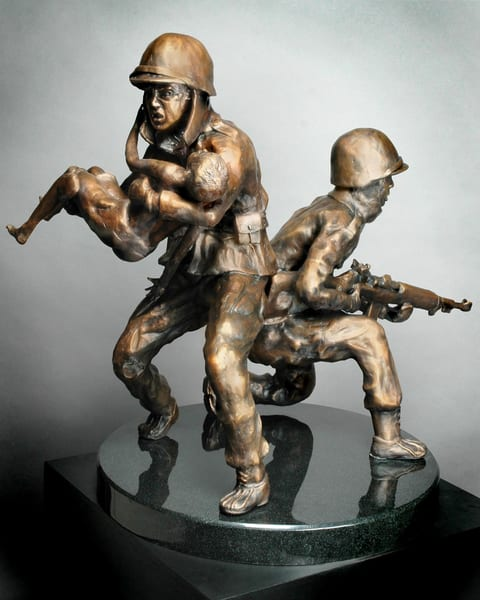 38th Parallel - Cast Bronze Sculpture of Soldiers in the Korean War