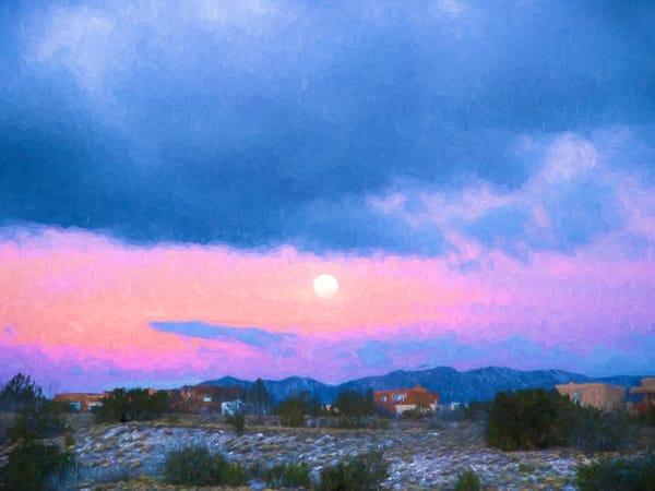Moon set, painterly, sunrise, Cochiti Lake