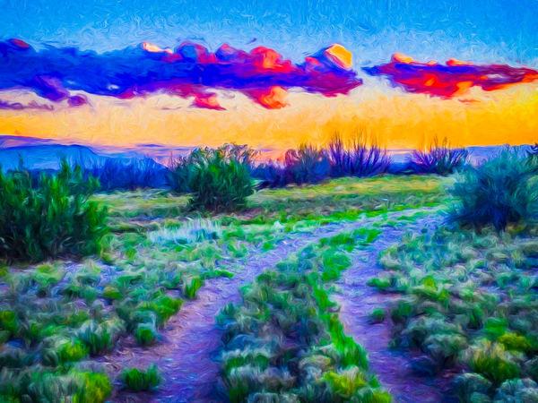 Sunrise-sunset, Cochiti Lake NM, road, path, converge