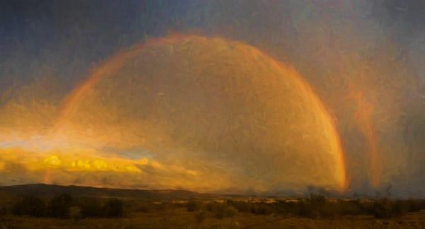 Rainbow At Sunset, Cochiti Lake Nm Photography Art | Nicholas King Photography