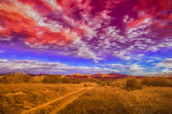 Jemez Mountains, road, firey clouds, sunset, Cochiti Mesa