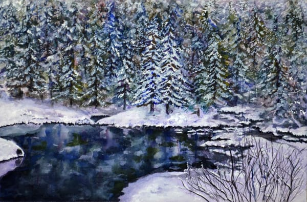 Snow And Cold Still Water Art | Sharon Bacal - Fine Art