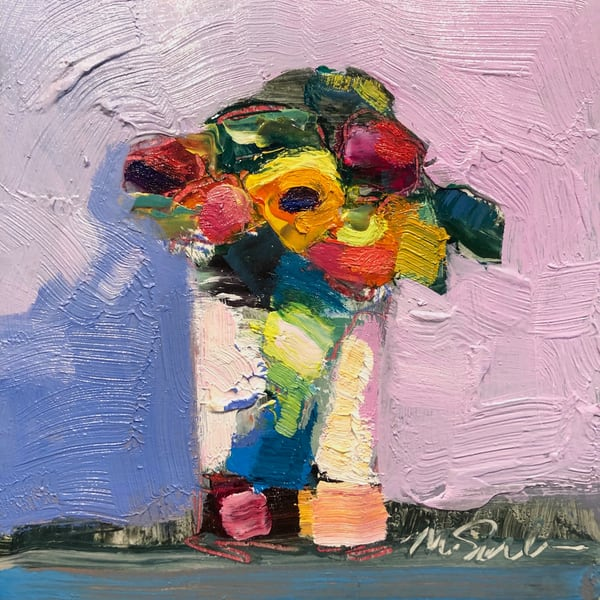 "Beautiful ""Still Life With 7 Mixed Ranunculus"" expressionist oil painting by Monique Sarkessian."