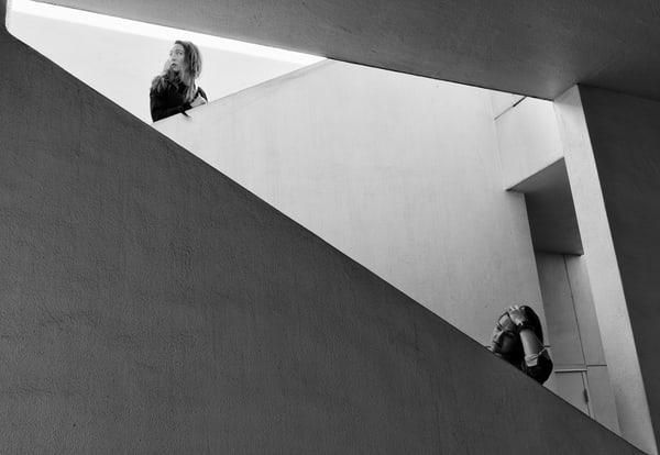 triangle, stairs, girls