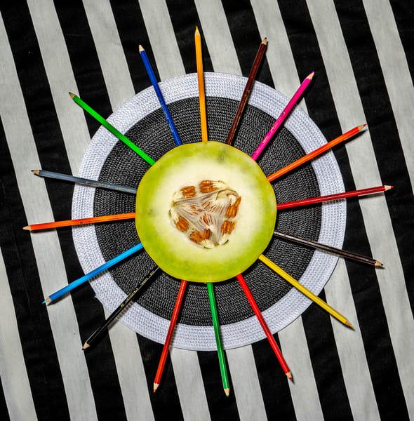 Lunch, pencils, color, melon, stripes