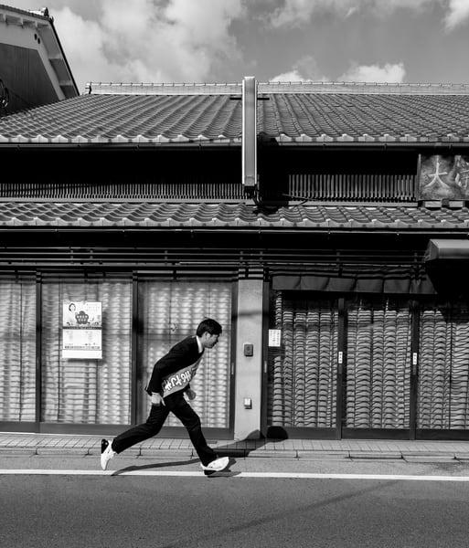 man, running, sash