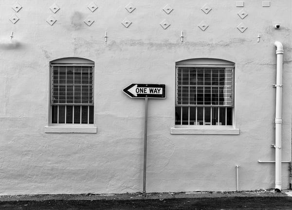two windows, arrow, sign, street