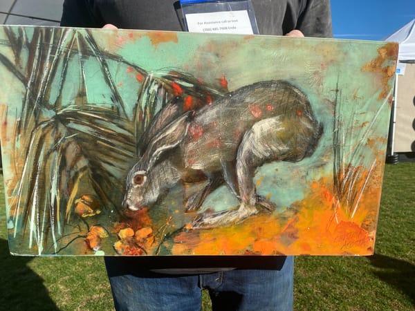 Hare Nibbling California Poppies Art | Cristina Acosta Art & Design llc