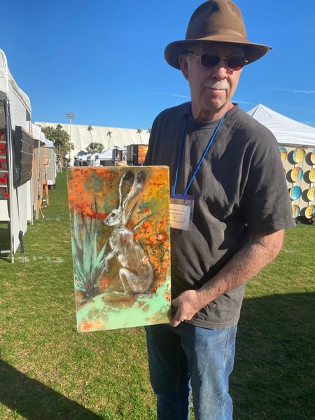 hare with yucca california poppies