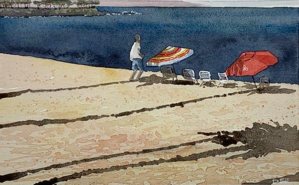 sunrise, watercolor, napili, maui, shadows, beach