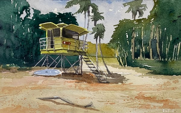 watercolor, art, lifeguard, tower, maui, kapalua