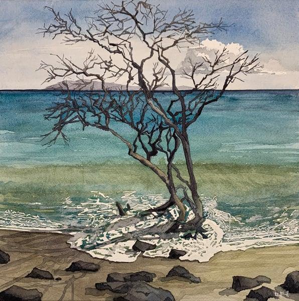 art, watercolor, erosion, beach, ocean, maui, hawaii