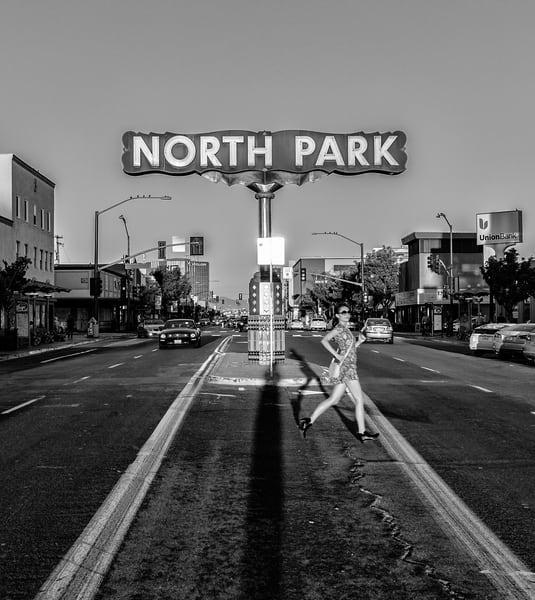 girl, running, signs, cars