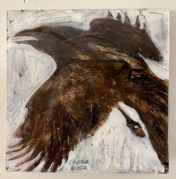 "Raven In Flight 10"" X 10""  Art | Cristina Acosta Art & Design llc"