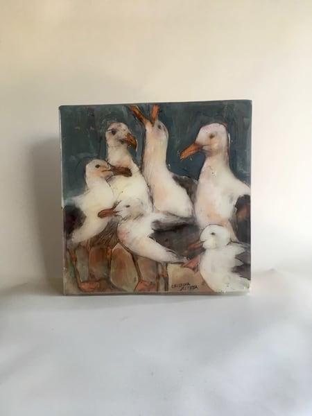 "Seagulls 10"" X 10""  Art | Cristina Acosta Art & Design llc"