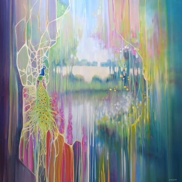 large colourful semi-abstract oil painting of a peacock in a dreamlike English landscape