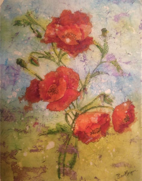 Poppies on Masa Paper, from an Original Watercolor Painting