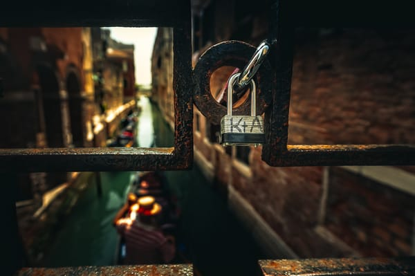 A typical love lock in Venice, Italy