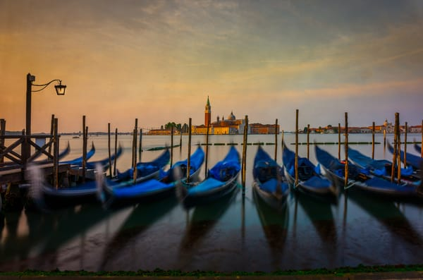 Gondolas,  lined up at Piazza di Marcos in Venice,