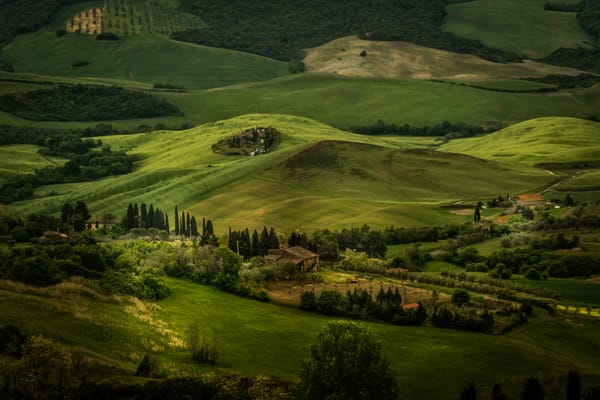 View of rolling hills in Tuscany