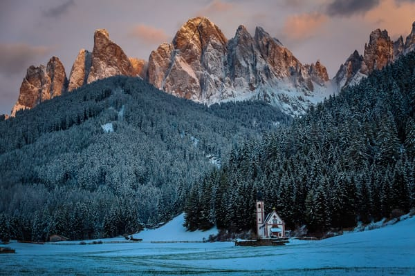 Amazing  Val di Funes Valley and San Giovanni church, Dolomites, South Tyrol, Italy, Europe