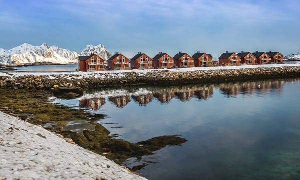 Typical red color houses in Kabelvag, Norway