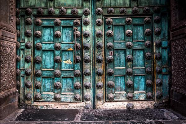 Details of a door from the historic Iglesia de la Compania in Cusco. Peru.