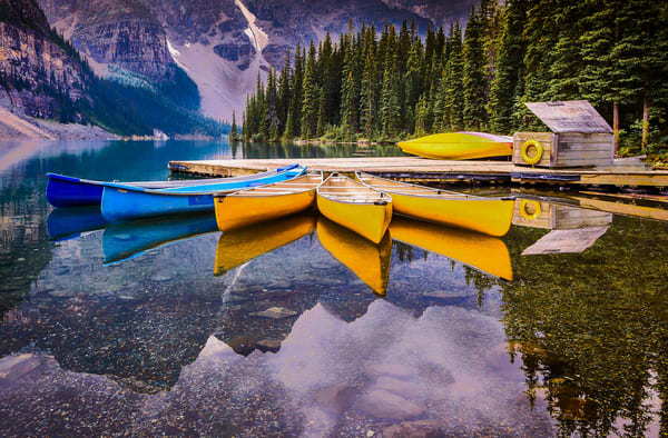 Colorful boats in Moraine Lake