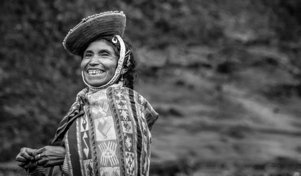 A smiling Peruvian villager
