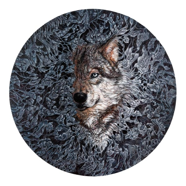 The Welcoming Night - Timber Wolf Art Print | Col Mitchell Paper Artist