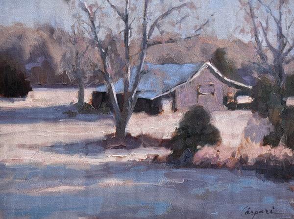 Cattle Barn In Frost  Art   robincaspari