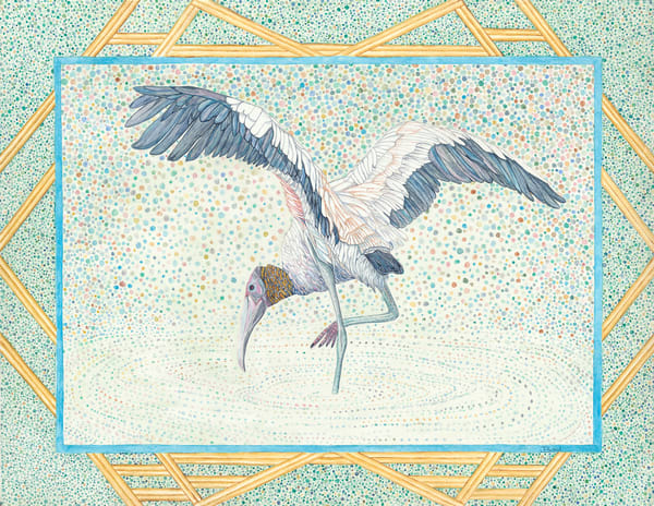 Woodstork. Fine art reproduction of watercolor art by Judy Boyd.