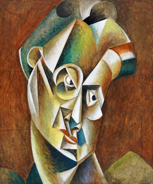Cubist Head is painting on canvas in the Cubist style inspired by Pablo Picasso